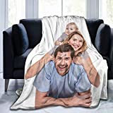 Custom Blanket with Photo Text Personalized Bedding Throw Blankets Customized Flannel Fleece Blankets for Family Birthday Wedding Gift Fits Couch Sofa Bedroom Living Room - 50'x40'