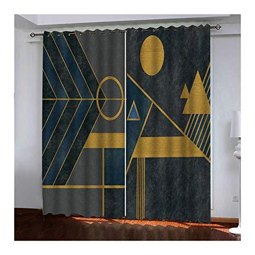 Daesar Cortinas Opacas para Dormitorio Gris Oro Cortinas Poliester Habitacion Geométrica 274x274CM