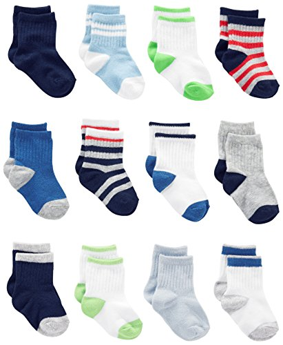 Simple Joys by Carter's Baby Boys' 12-Pack Socks, Blue/Gray/White, 0-6 Months
