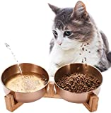 Sunjiaxingzd Tazones de Las Mascotas Comedero de Acero Inoxidable Set Perro Agua de la Taza Dog Food Bowl con el Soporte para los Perros de los Gatos