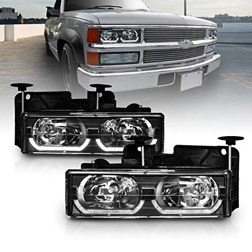 AmeriLite Black Replacement Headlights LED Halo Bar for Chevy/GMC Fullsize Truck SUV - Passenger and Driver Side