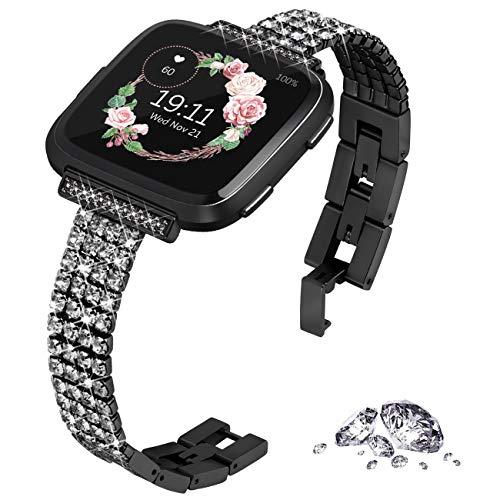 KADES Compatibel voor Fitbit Versa-band, Dames bling 4-ketting band met Quick Release-pin Compatibel voor Fitbit Versa 2, voor Fitbit Versa Lite Edition Smart Watch, Zwart