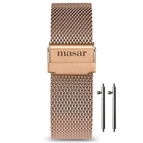 Masar 20mm Roségold Schnellverschluss Milanese Multi-Brand Mesh Uhrenarmband 20mm LR Rose Gold