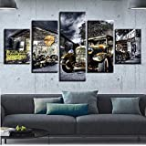 JSBVM Segeltuch Poster Wandkunst Gedruckt 5 Panel Antikes Hot Rod Oldtimer Gemälde Landschaft Bilder Modular Wohnzimmer Dekor,A,30×50×2+30×70×2+30×80×1