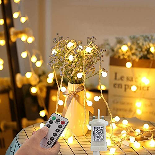 Outdoor Fairy Lights Plug in Powered Globe String Lights 33Ft 100 LED 8 Lighting Modes with Remote Timer Control for Bedroom Decoration Indoor Garden Wedding Christmas Decorations