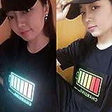 Luanda* Tiktok T-Shirts, Batterie LED Light Up Manches Courtes, T-Shirts Sonores éLectroniques pour Hommes, T-Shirt Buddy Polo Couples, Grande Taille/Black / 2XL