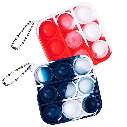ZNNCO Push Pop Bubble Fidget Sensory Toy,Mini Tie Dye Pop Keychain to Relieve Emotional Stress for Autism Kids Adults (Orange+Blue Square)