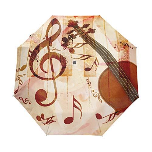 XiangHeFu Paraplu Muziek Opmerking Piano Viool Auto Open Sluiten 3 Vouwen Lichtgewicht Anti-UV