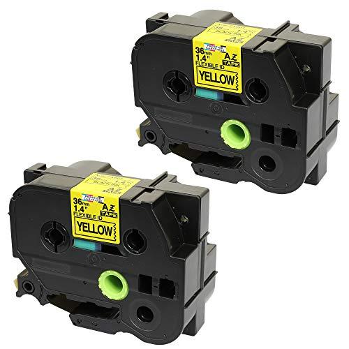 Prestige Cartridge 2 Kassetten TZe-FX661 TZ-FX661 schwarz auf gelb (flexibel) 36mm x 8m Schriftband kompatibel für Brother P-Touch PT-3600 530 550 9400 9600 9700 9700PC 9800 9800PCN D800W P900W P950NW