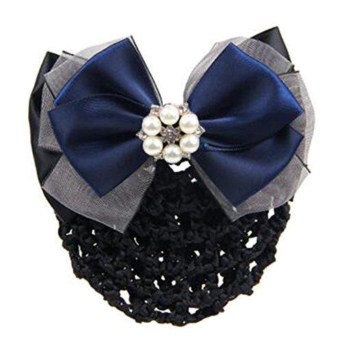2 pièces bowtie maille élastique Bun couvre cheveux barrette poils cheveux pour dames,Bleu