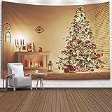 N / A Tapiz, Tapiz Colgante para D & Eacute; Cor Sala de Estar Dormitorio de Navidad Casa bellamente Decorada con un árbol Ipodarkami Debajo, Rosa Plateado