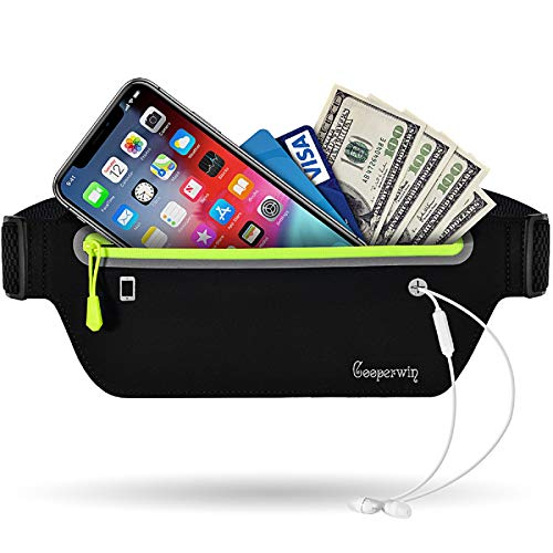 Running Belt Waist Packs - Workout Fanny Pouch for Women Men, Ultra Light Bounce Free Waterproof Reflective Runners Sports Exercise Adjustable Waistband Bag for Hiking Cycling Cell Phone Holder