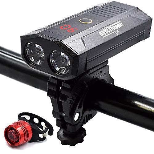 myBESTscooter Juego de Luces, luz Delantera de Bicicleta Recargable USB de 5200 mAh con Banco de energía y Pantalla LED Digital Faros Impermeables de 1000 lúmenes, luz Trasera Brillante para Ciclismo