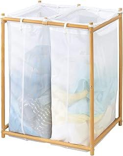mDesign panier à linge deux compartiments pour salle de bain ou buanderie – sac à linge sale en filet perméable à l'air – ...
