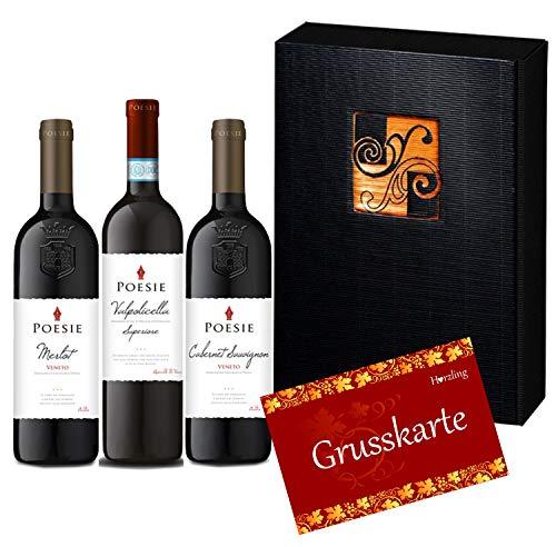 """3er Rotwein-Geschenk-Set""""Poesie Red"""" aus dem Veneto (3 x 750 ml)"""