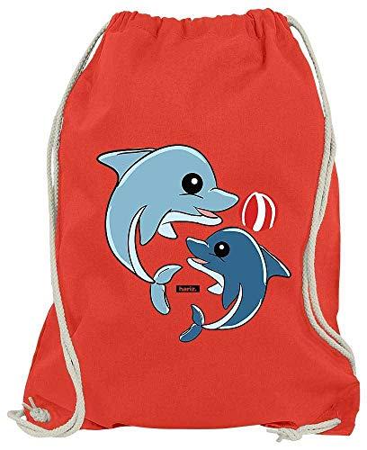 HARIZ Turnbeutel Delfine Spielend Mit Wasserball Tiere Zoo Plus Geschenkkarte Rot One Size