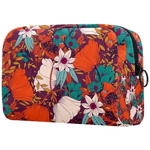 Bolsa de brochas de maquillaje personalizable, portátil, bolsa de aseo para mujer, organizador de viaje elegante, flores de acuarela