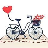 MOKIO® Pop-Up Karte – Fahrrad mit Herzen – 3D Geschenkkarte oder Gutschein zum Geburtstag, Valentinstag, zur Hochzeit als Liebeskarte