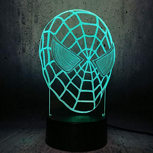 3D Hero Spiderman Head Pattern Night Light,Sleep Light,Illusion Lamp,7 Color Change Decorative Lights, Kids Toys Birthday Gift Touch with Remote Control for Baby Adults Bedroom