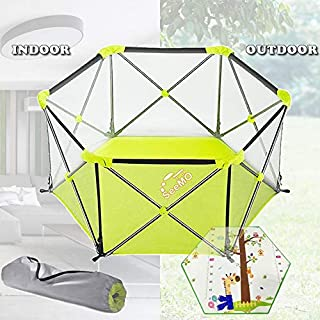 Baby Playpen Baby Portable Foldable Playard Washable 6-Panel and Crawling Play Mat For Kidswith Carry Case Baby Fence for ...