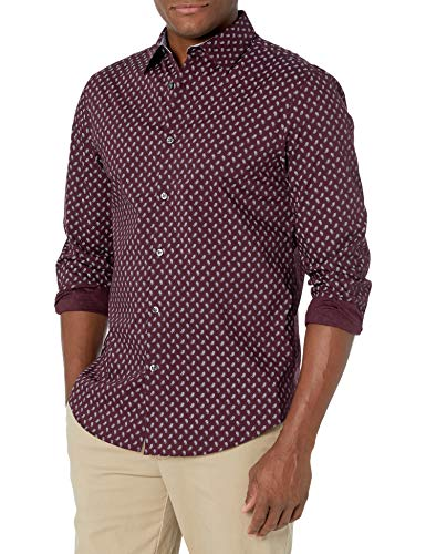 AXIST Men's Long Sleeve Slim Fit Printed Sctrd Psly Str Shirt, Winetasting, XX Large