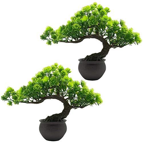 AIVORIUY 2pcs Bonsai Artificial Árbol Plantas Falsas Verde Plantas Artificiales en Macetas Bonsai de Pino Japonés para Decoración de Hogar Pantalla de Escritorio Mesa Casa Oficina Balcón Ventana Salón