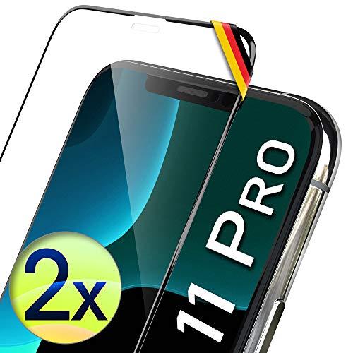 UTECTION 2X Full Screen Schutzglas 3D für iPhone 11 PRO, X/XS - Perfekte Anbringung Dank Rahmen - Premium Displayschutz 9H Glas - Kompletter Schutz Vorne - Folie Schutzfolie Vollglas - 2 Stück