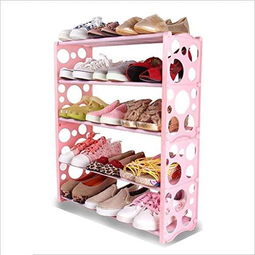 CXVBVNGHDF Zapatero de 5 niveles de almacenamiento, organizador para 15 pares de zapatos, de plástico, para el hogar, dormitorio, sala de estar, oficina, fácil de montar, 60 x 19 x 70 cm (color: rosa)