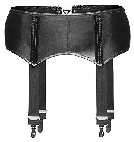 Noir Handmade Wetlook Strapsgürtel, schwarz, 4 Metallclips - Strumpfhalter Strapshalter Hüfthalter Größe S
