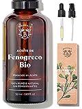 ACEITE DE FENOGRECO ORGÁNICO | Aceite Macerado de Semillas de Fenogreco y Aceite de Girasol | Cuerpo, Pecho, Glúteos, Cabello | Vegano y Cruelty Free | Botella de vidrio + Pipeta + Bomba (50ml)