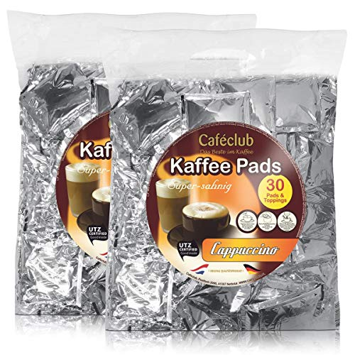 2x Cafeclub Cappuccino Kaffeepads Megabeutel je 30 stk. Topping mit Milchschaum
