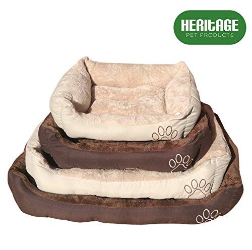 Heritage Pet Products Deluxe - Cesta de cama para mascotas, suave, lavable, cálida, con forro polar