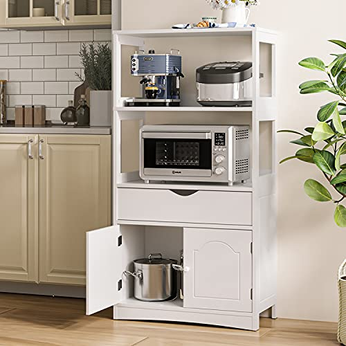 Sideboard Storage Cabinet with 2 Open Shelves, 1 Drawer & 1 Cupboard,Kitchen Pantry Cabinet with Microwave Space, Freestanding Floor Cabinet,Bookshelf,Display Unit for Home, White