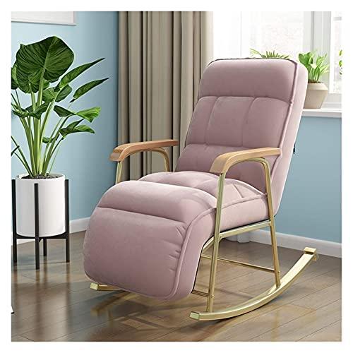 KUYH Silla Mecedora de Telas, sillón de balcón Moderno, Muebles de Sala de Estar, sofá reclinable Perezoso, sillón de Dormitorio