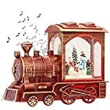 GenSwin Christmas Train Snowman Battery Operated Musical Lighted Water Snowing Glittering Snow Globe Lantern with Timer, Christmas Home Decoration and Gift(Red)