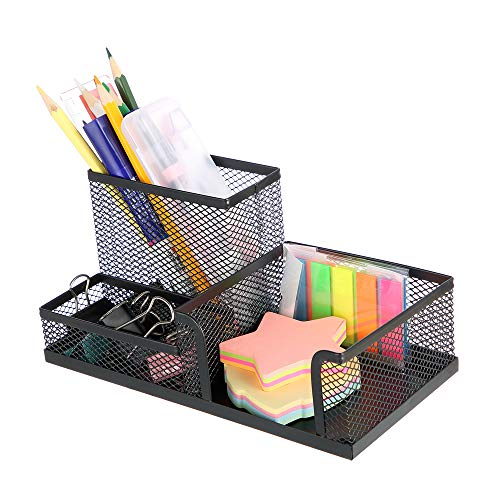 MOYOOA Pen Holder Mesh Pencil Holder Metal Pencil Holders Pen Organizer Black for Desk Office Pencil...