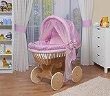 WALDIN Culla con cappotta,Culla con ruote XXL,IN 44 VARIANTI,telaio/ruote naturali non trattati,colore tessile rosa/a quadri