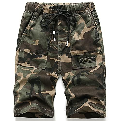 Idgreatim Pantalones cortos de camuflaje para niños con estampado militar militar de camuflaje, pantalones cortos de cintura ajustables con bolsillos laterales