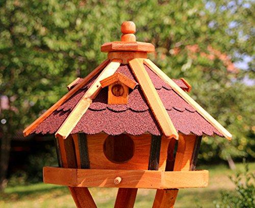 Vogelhaus, Vogelhäuser mit Solarbeleuchtung mit und ohne Ständer behandelt Typ 23 (Rot, ohne Ständer) - 2