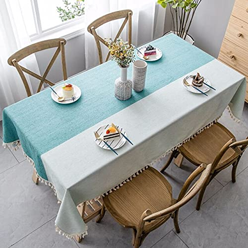 1 Pieza de Mantel Rectangular de Lino de algodón Puro para decoración del hogar, cojín Grande para Mesa de Comedor, Mantel con borlas, 140x200cm A