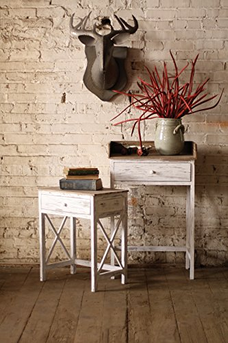Kalalou Whitewashed Side Table with Distressed Wooden Top, Set of 2