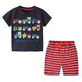 Ropa Bebe Niño Conjunto Camiseta Coche y Pantalon Corto Rojos Disfraz Verano Traje Chandal Pijama Fiesta Pascua 3 Años