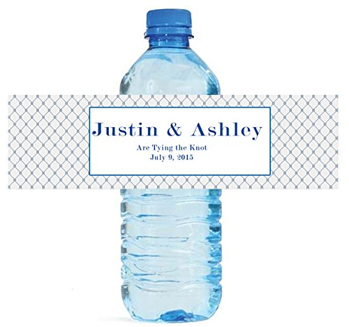 "100 Tying the Knot Wedding Water Bottle Labels Engagement Bridal 8""x2"" Nautical"