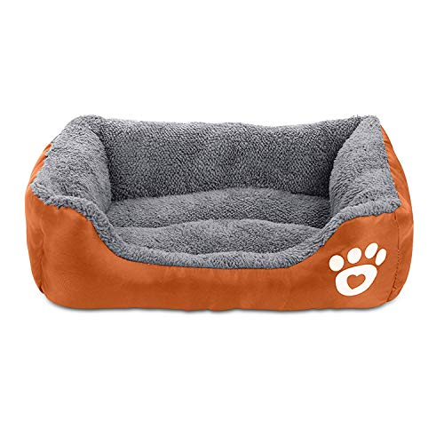 Pet Deluxe Dog Bed, Super Soft Pet Sofa Cats Bed, Non Slip Bottom Pet Lounger,Self Warming and Breathable Pet Bed Premium Bedding (L)-Orange