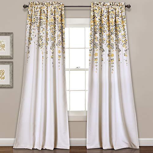 "Lush Decor Weeping Flowers Curtains Yellow and Gray Room Darkening Window Panel Set (Pair), 95"" x 52"", Yellow & Gray"
