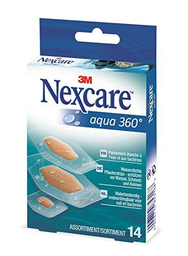Nexcare Wasserpflaster 360°, 14 verschiedene gemischte Pflaster, atmungsaktiv, transparent, wasserdicht, 6 Pflaster 21 x 27 mm, 6 Pflaster 26 x 56 mm, 2 Pflaster 30 x 62 mm