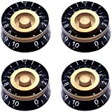 Taiss 4Pcs Amber Top Hat Knobs Electric Guitar Bass Speed Volume Tone Control Knobs Fits 6mm/0.24' Rotary Shaft Musical Instruments and Radios Parts Replacement KNOB-S32