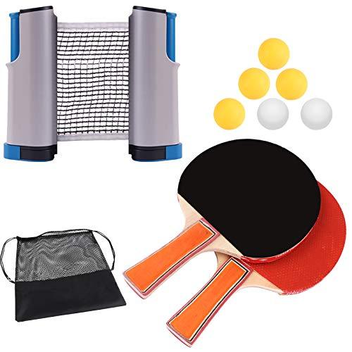 Exnemel Juego de Tenis de Mesa, Rejilla de Ping Pong Retráctil Instantánea de 170 cm/67 Inch con 2 Murciélagos y 6 Pelotas para Juegos de Interior al Aire Libre para La Escuela, La Oficina en Casa