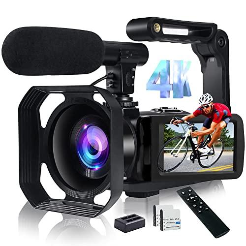 Videokamera Camcorder 4K 48MP Vlog Kamera mit WiFi 18X Digitalzoom YouTube Kamera für Videos Touchscreen und Fernbedienung