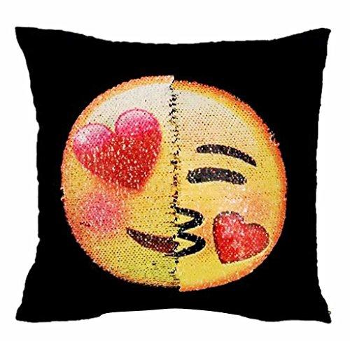 Elyseesen Adorable Deux côtés Deux humeurs Oreiller Housse Case Home Decor Coussin Emoji Oreiller (D)